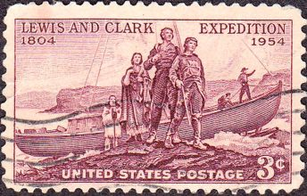 Commemorative stamp celbrating 150th anniversary of the Lewis and Clark Expedition