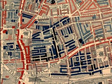 Charles Booth's poverty map of Bethnal Green 1889