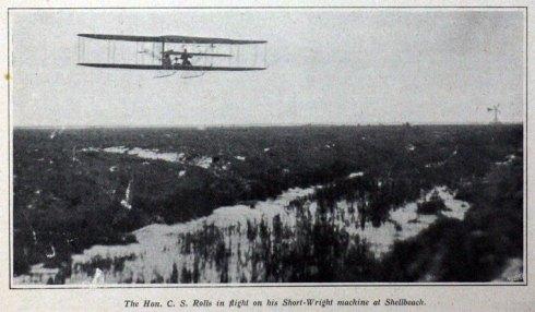 CS Rolls flying a Short/Wright machine at Shellbeach.