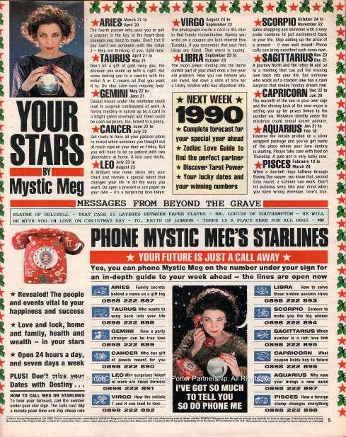 Mystic Meg's Horoscope page from 'Sunday' magazine