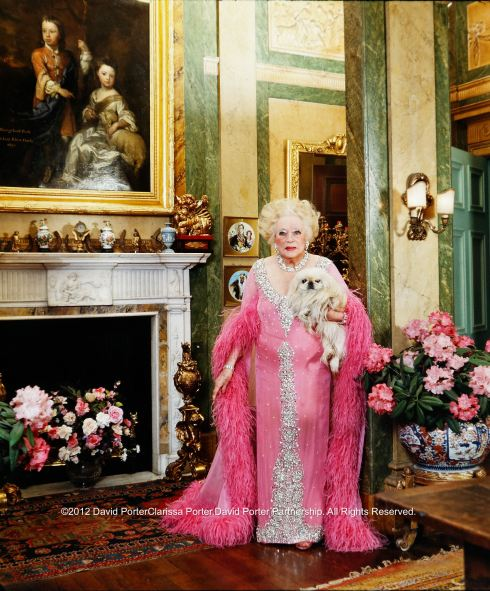 Barbara Cartland at home, Camfield Place in Hertfordshire